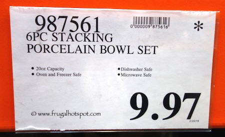 Stacking Porcelain Bowls 6-Piece Costco Price | Frugal Hotspot