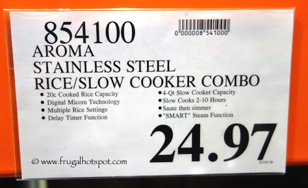 Aroma Stainless Steel Rice/Slow Cooker Combo Costco Price