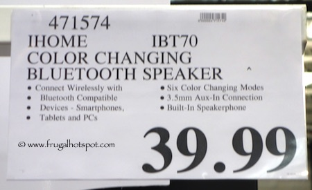 iHome Wireless Color Changing Bluetooth Speaker iBT70 Costco Price