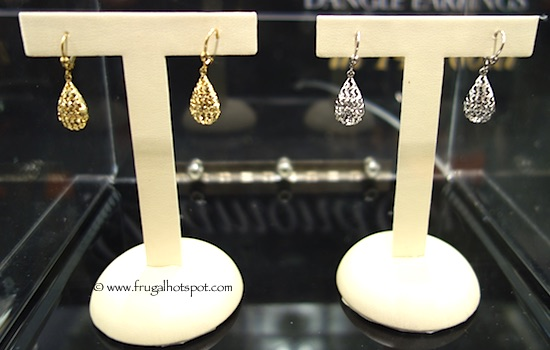 14kt Yellow or White Gold Diamond Cut Dangle Earrings Costco
