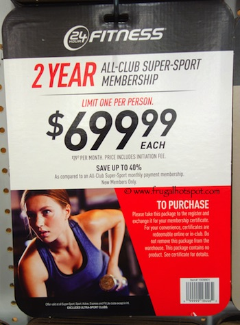 24 Hour Fitness 2-Year All-Club Super-Sport Membership Costco