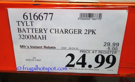 Tylt 3200mAh Power Charger 2-Pack Costco Price | Frugal Hotspot