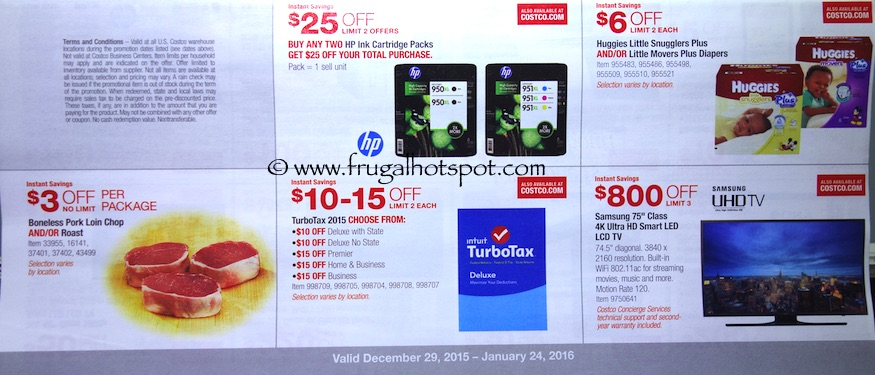 Costco Coupon Book: December 29, 2015 - January 24, 2016. Prices Listed. Frugal Hotspot. Page 1