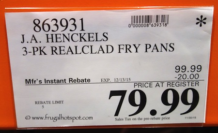 J.A. Henckels 3-Pack RealClad Fry Pans Costco Price