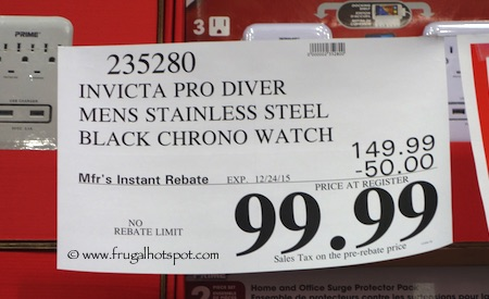 Invicta Pro Diver Mens Stainless Steel Black Chronograph Watch Costco Price