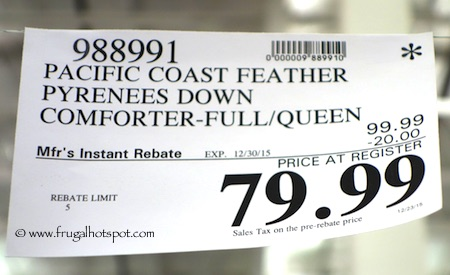 Pacific Coast Feather Pyrenees Down Comforter Queen/Full Size Costco Price