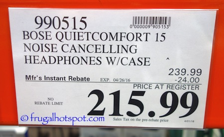 Bose QC15 Acoustic Noise Cancelling Headphones Costco Price | Frugal Hotspot