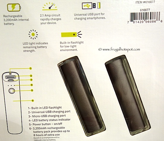 Tylt 3200mAh Power Charger 2-Pack Power Bank Costco