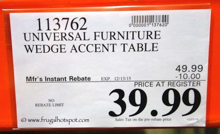Universal Furniture Broadmoore Wedge-Shaped Accent Table Costco Price