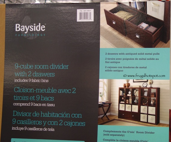 Bayside Furnishings 9-Cube Room Divider with 2 Drawers Costco