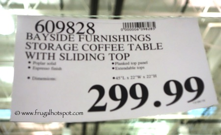 Bayside Furnishings Cocktail Table with Sliding Top Costco Price