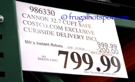 Costco Sale: Cannon Safe Executive Series 32.7 Cu Ft $799 ...