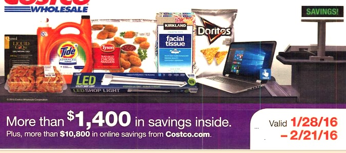 Costco Coupon Book: January 28, 2016 - February 21, 2016. Cover. Frugal Hotspot.