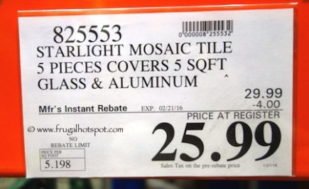 Golden Select 'Starlight' Glass and Aluminum Mosaic Wall Tile (5 Square Feet) Costco Price