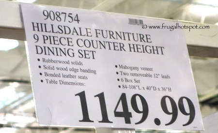 Hillsdale Furniture 9-Piece Counter Height Dining Set Costco Price