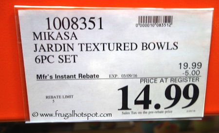 Jardin Porcelain Bowls Set of 6 - Gourmet Basics by Mikasa Costco Price | Frugal Hotspot
