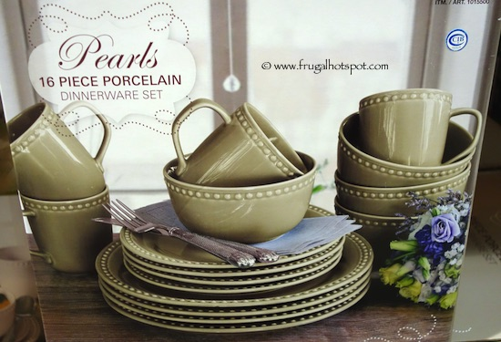 Over and Back Pearls 16-Piece Porcelain Dinnerware Set Green Costco