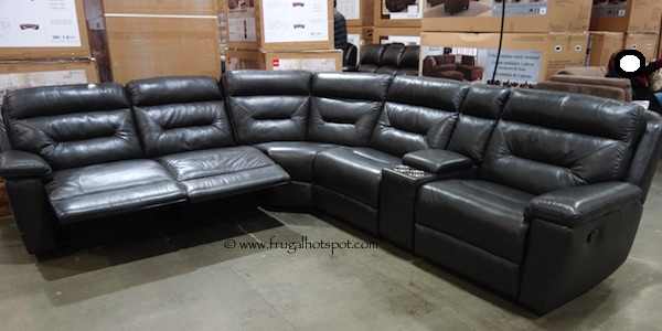 power living furniture products kane s reclining sectional brown leather expo recliner room piece sectionals