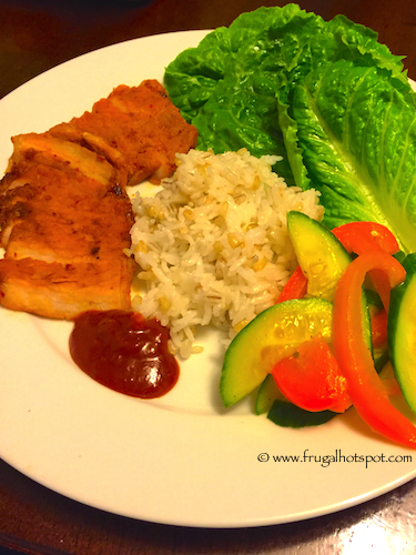 Spicy Pork with Rice, Cucumber & Pepper Salad, and Lettuce