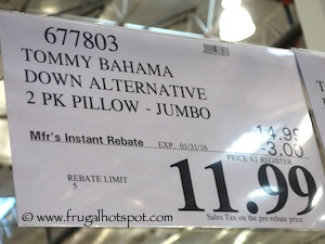 Tommy Bahama Home Bali Resort Collection Down Alternative Pillow Costco Price Jumbo