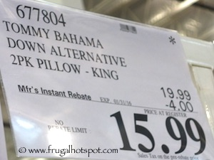 Tommy Bahama Home Bali Resort Collection Down Alternative Pillow Costco Price King