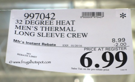 Costco sale weatherproof 32 degrees heat men s thermal for Costco t shirt printing