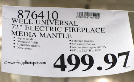 "Well Universal 72"" Electric Fireplace Media Mantel Costco Price"