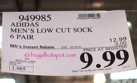 Adidas Men's Climalite Low Cut Socks 6-Pair Costco Price | Frugal Hotspot