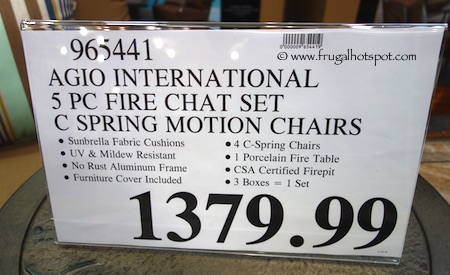 Agio International 5-Piece Fire Chat Set Costco Price Frugal Hotspot