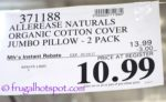 Costco Price of Allerease Naturals Organic Cotton Cover Jumbo Pillow 2-Pack