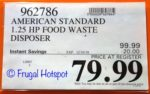 Costco Sale Price: American Standard Food Waste Disposer