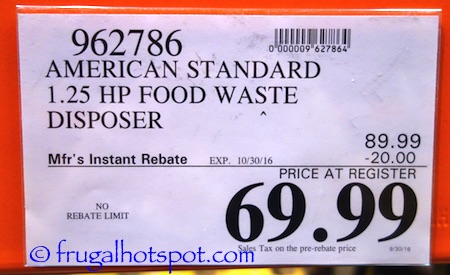 American Standard Food Waste Disposer Costco Price | Frugal Hotspot