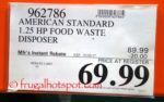 Costco Price: American Standard Food Waste Disposer