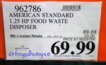 American Standard Food Waste Disposer Costco Price