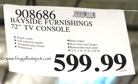 "Bayside Furnishings 72"" TV Console Costco Price 