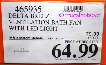 Delta Breez Ventilation Bath Fan with Humidity Sensor/LED Light Costco Price | Frugal Hotspot