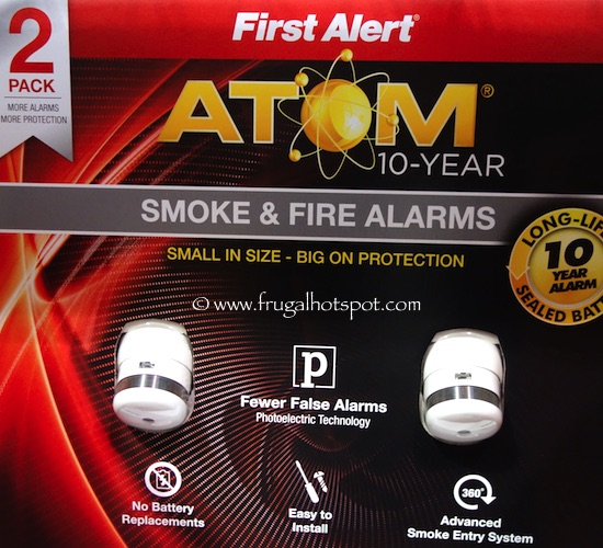 First Alert 10 Year Atom Micro Smoke and Fire Alarm 2-pack Costco
