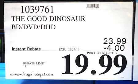 The Good Dinosaur Blu-Ray + DVD + Digital HD Costco Price / Frugal Hotspot