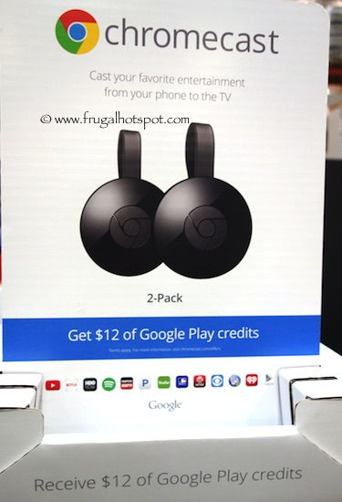 Google 2-Pack Chromecast with $12 Google Play Credit Costco