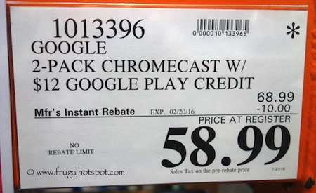 Google 2-Pack Chromecast with $12 Google Play Credit Costco Price