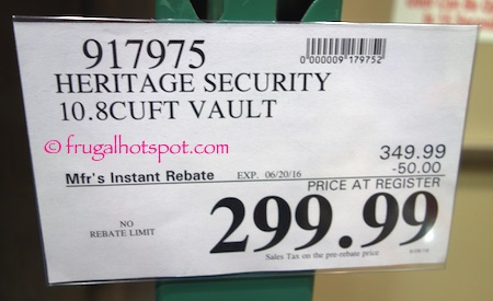 Heritage Security 10.8 Cu. Ft. Vault Costco Price | Frugal Hotspot