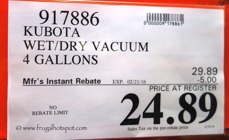 Kubota 4-Gallon Stainless Steel Wet/Dry Vacuum Costco Price