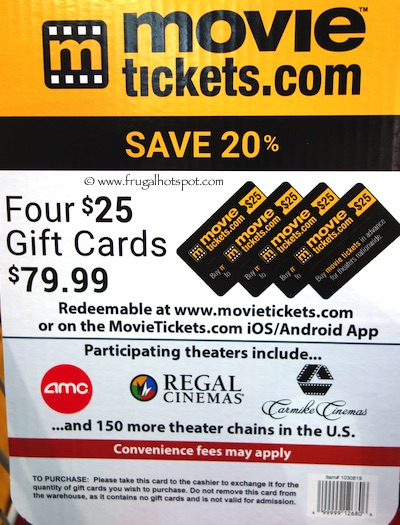 MovieTickets.com 4/$25 Gift Cards Costco