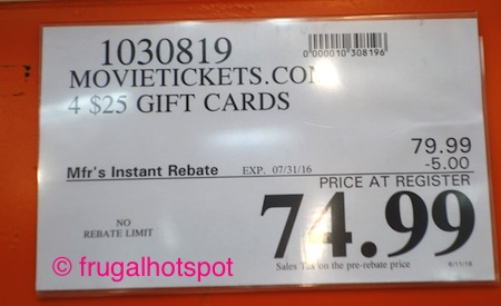 MovieTickets.com 4/$25 Gift Cards Costco Price | Frugal Hotspot