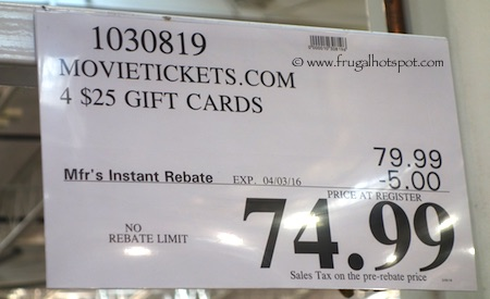 MovieTickets.com 4/$25 Gift Cards Costco Price