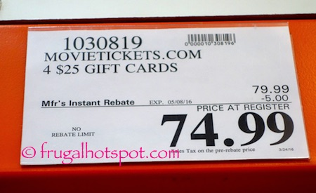MovieTickets.com 4/$25 Gift Cards Costco Price   Frugal Hotspot