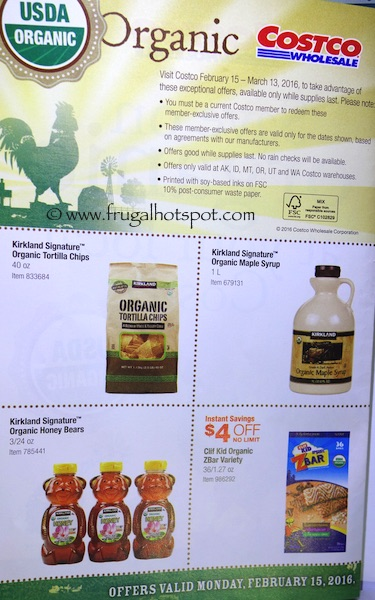 Costco ORGANIC Coupon Book: February 15, 2016 - March 13, 2016. Frugal Hotspot. Page 1