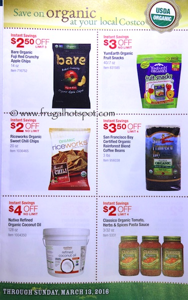 Costco ORGANIC Coupon Book: February 15, 2016 - March 13, 2016. Frugal Hotspot. Page 2