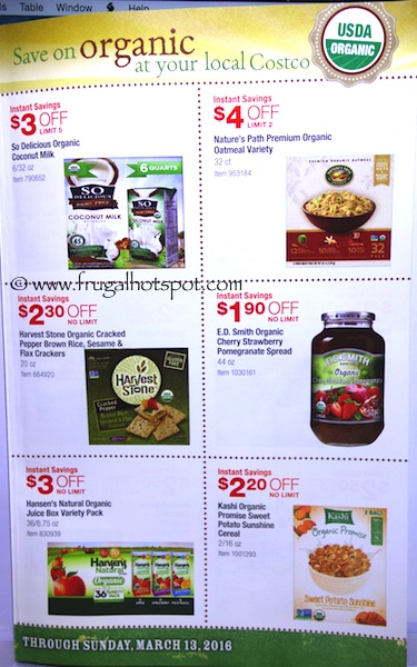 Costco ORGANIC Coupon Book: February 15, 2016 - March 13, 2016. Frugal Hotspot. Page 4