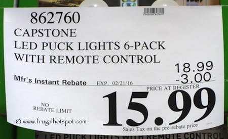 Costco sale capstone led puck lights 6 pack with remote 1499 february 2017 capstone led puck lights 6 pack with remote costco price aloadofball Choice Image